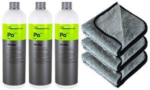 3x KOCH CHEMIE Po Pol Star Textilreiniger Lederreiniger 1 L & P4C Mikrofasertuch