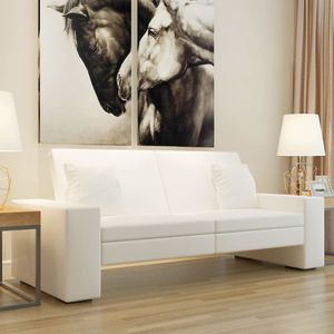 CHIC® Schlafsofa im skandinavischen Stil,Eckcouch|Polstersofa Bettsofa Lounge Sofa für Wohnzimmer Weißes Kunstleder Größe:176 x 92 x 52 cm※4505