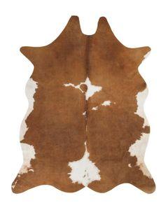 Kuhfell Kunstfell Teppich 125 x 155 cm Braun Weiß Fellimitat Rinderfell Digitaldruck
