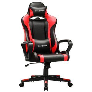 SONGMICS Bürostuhl Schreibtischstuhl Computerstuhl Gamingstuhl höhenverstellbar bis 150 kg belastbar ergonomisch schwarz-rot RCG011B01