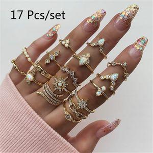 Diamant Set Ring Schmuck im b?hmischen Stil 17-teiliger Set Ring