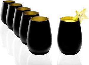 Stölzle Lausitz Becher 6er Set 465 ml matt schwarz und gold Wassergläser 3520012