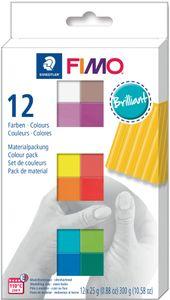 """FIMO SOFT Modelliermasse-Set """"Brilliant"""" 12er Set 12 Blöcke à 25 g"""