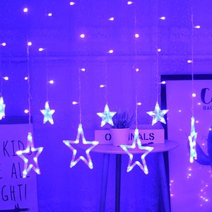 led Lichterkette 12 Sternenvorhang led Lichtervorhang Weihnachten blau 8 Modi dimmbar