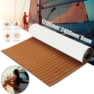 Selbstklebend Bodenbelag 2400x1200x6mm Yacht KFZ Auto Fußboden Teak Flooring Dunkelbraun