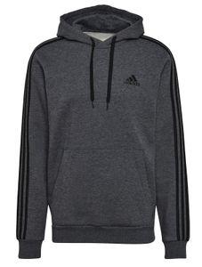 adidas Herren Fitness-Kapuzensweatshirt Essentials Fleece 3-Streifen Hoodie grau, Größe:S