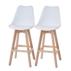 2x Barhocker Malmö T501, Retro Design  weiß, Sitzfläche Kunstleder weiß, helle Beine