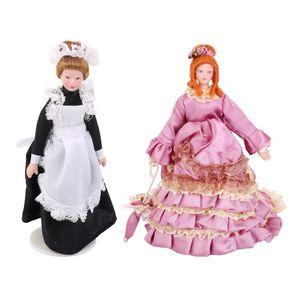 2 Stück 1/12 Puppenhaus Porzellan Viktorianische Mädchenpuppen