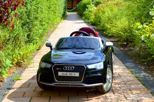 Kinderauto XXL Audi RS 5 - Elektroauto Kinderfahrzeug elektronisch - LED, Leder, Fernbedienung, Akku - Schwarz-Metallic, Cabrio Verdeck