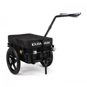 DURAMAXX Big-Mike - Fahrradanhänger , Lastenanhänger , Handwagen , mit Hochdeichsel , Transportbox mit 70 Liter Volumen , Max. 40kg , Kugel-Kupplung für Fahrräder mit 26'' - 28'' , schwarz