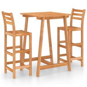 3-tlg. Gartenbar-Set, 1 Bartisch + 2 Barhocker, Massivholz Akazie