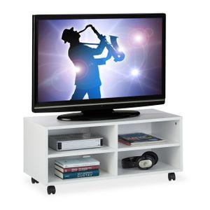relaxdays TV Board mit 4 Fächern rollbar