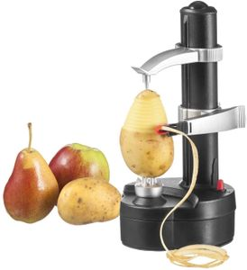 Elektrischer Schäler Automatisch rotierender Apfelschäler Kartoffelschäler Multifunktions-Edelstahl-Schälmaschine für Obst und Gemüse - Schwarz