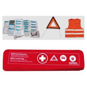 Kombitasche p l u s mit Klettband best. aus EURO-Warndreieck, Verbandstofffüllung und Sicherheitsweste, rot