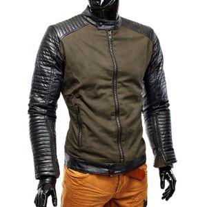 Herren Übergangsjacke Biker Lederärmel H1171, Größe Jacken:L