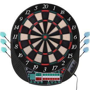 Physionics® Elektronische Dartscheibe - 28 Spiele, 167 Spielvarianten, inkl. 12 Dartpfeile, 100 Ersatz-Pfeilspitzen und Netzteil, 16 Spieler - LED Anzeige Dartboard, Dartautomat, Dartspiel, Darts