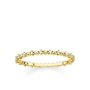 Thomas Sabo TR2153-414-14 Ring Dots Weisse Steine Gold-Ton Silber Gr. 50