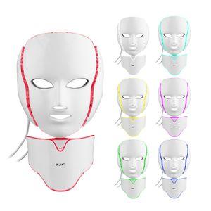 CkeyiN LED Gesichtsmaske 7 Farben LED Photonentherapie,Lichttherapie Gesichtsmaske für die Gesichtspflege Halshaut Whitening Hautverjüngung