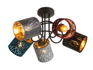 Globo Lighting TICON Deckenleuchte Metall schwarz, 5xE14, 15266-5D