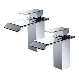 2X Wasserhahn Bad wasserfall Waschtischarmatur Badarmatur Chrom Waschbeckenarmatur Einhebelmischer Armatur für Bad