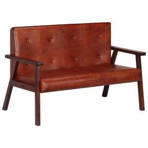 2-Sitzer-Sofa Braun Echtleder Wohnlandschaft-Sofa Relaxsofa für Wohnzimmer Schlafzimmer Esszimmer