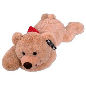 TE-Trend XXL Teddybär Giant Teddy Bear Riesen Teddy Liegend Plüschtier Bär Schal Stofftier Kuscheltier 80cm Braun