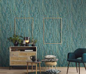 Erismann 10149-36 Elle Decoration Wandtapete Holz/Stein dunkelgrün Tapete Deko