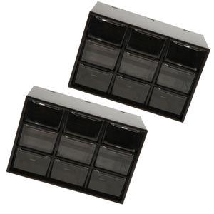 2x Schublade Aufbewahrungsbox Schreibtisch Organizer Desktop 9 Gitter Schublade Sortiergitter Schwarz