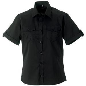 Russell Collection Herren Hemd / Arbeitshemd, Kurzarm RW3262 (XL) (Schwarz)