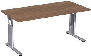 C-Fuß Flex Schreibtisch, gerade, höhenverstellbar, verschiedene Größen und Farben, Farbe:Nussbaum, Größe Tischplatte:160 x 80 cm