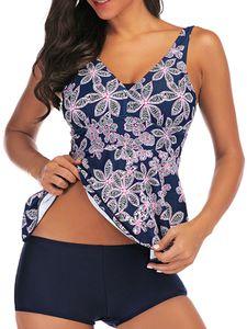 Damen Tankini Set Badeanzug + Shorts Blumendruck Zweiteiliger V-Ausschnitt Badebekleidung,Farbe:Blau,Größe:M