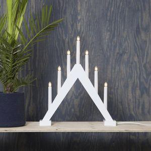 Fensterleuchter Trill - 7 warmweiße Glühlampen - L: 40cm, H: 47cm - Holz - Schalter - Weiß