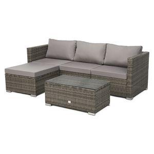 SVITA QUEENS Polyrattan Lounge Eck-Sofa Gartenmöbel Set grau