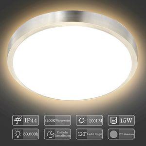 karpal LED Deckenleuchte 15W Deckenlampe Badezimmer Warmweiss 1200LM Rund Badlampe Innen Modern Wohnzimmerlampe fuer Bad, Flur, Kueche, Balkon, Schlafzimmer usw