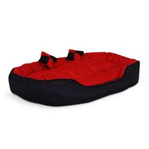 dibea 4-in-1 Hundebett, Hundekissen, Hundekörbchen mit Wendekissen, schwarz/rot, Größe L