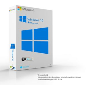 Microsoft Windows 10 Pro Original 32/64-Bit  Key & Installationsdaten auf 8GB USB