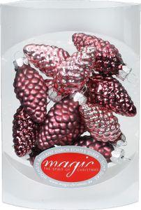 Christbaumschmuck Zapfen Glas 4.5cm, 12 Stück, Farbe:Berry Kiss ( Beere glanz / matt )