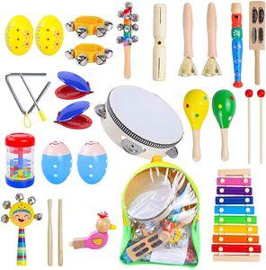 NightyNine 27 Stück Musikinstrumente Set, Holz Percussion Set Musical Instruments Spielzeug Schlagzeug, Kinder Schlaginstrument für Kinder im Vorschulalter mit Aufbewahrungstasche