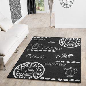 Moderner Teppich Für Innen- Und Außenbereich Kaffeekanne Sisal Look Anthrazit, Größe:80x200 cm