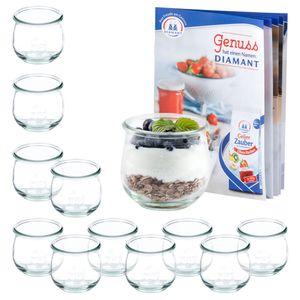 12er Set Weck Gläser 370ml Tulpenglas inkl Rezeptheft