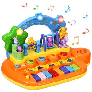 COSTWAY Babyspielzeug Klavier, Musikspielzeug mit integriertem Musikmodi und Tierfamilie, Spielzeug Keyboard, Baby Klaviertastatur fuer Kleinkinder ab 10 Monaten