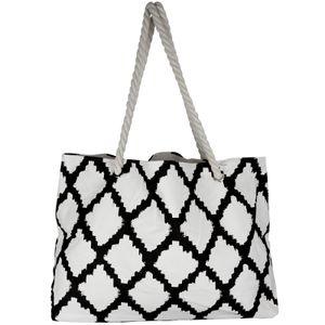 Strandtasche Baumwolle Schwarz Shoppertasche groß Einkaufstasche Schultertasche Strand Tasche