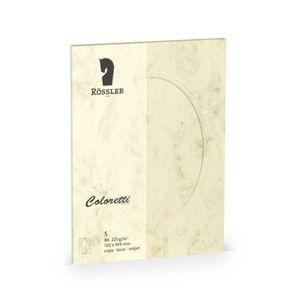 Rössler Papier - - Coloretti-5er Pack PP-Karte B6 oval, Chamois Marmora - Liefermenge: 10 Stück