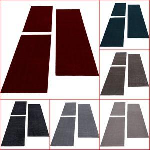 Bettumrandung Einfarbig Läufer Teppich Uni Beige Blau Grau Mocca Rot Läuferset, Farbe:Beige, BettSet:2 x 60x100 cm + 1 x 80x150 cm