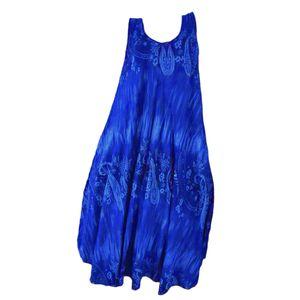1 X Damen Kleid Strandkleid Maxikleid Loose Ärmellos Kleid Lange Kleider Casual Mehrfarbig Schwingen Blume Blau 3XL Ärmelloses Kleid