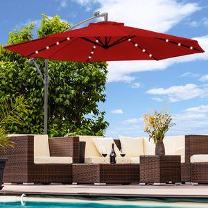 Luxus Sonnenschirm mit LED Beleuchtung Ampelschirm 300 cm Garten Schirm Pavillon - rot