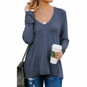 Damen V-Neck Langarm T-Shirt Pullover Unterteil Top, Farbe:blau, Größe: XXL