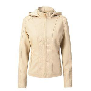 Damen Herbst Plus Samt Reißverschluss Weibliche Motorrad Leder Kapuze Jacke Mantel Größe:L,Farbe:Beige