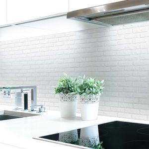 Küchenrückwand Ziegelwand Weiß Premium Hart-PVC 0,4 mm selbstklebend - Direkt auf die Fliesen, Größe:220 x 60 cm