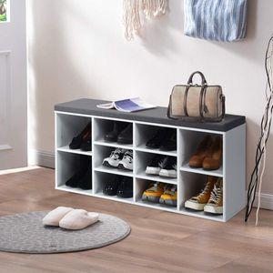 COSTWAY Schuhbank mit Sitzfläche, Schuhregal Holz, Schuhkommode Schuhablage Schuhschrank, Sitzbank mit Regal, mit Sitzkissen, Weiß